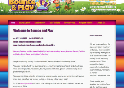 Web design Hatfield Herts bouncy castle hire