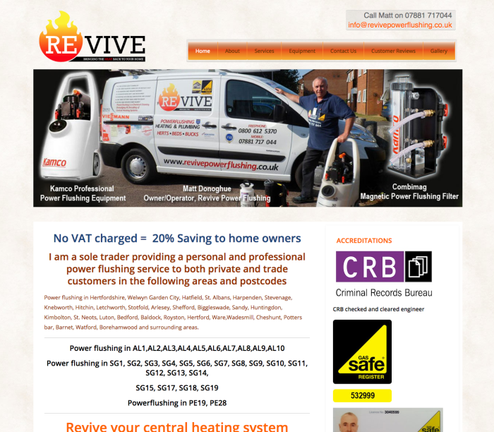 Web Design Welwyn Garden City, Revive Power Flushing